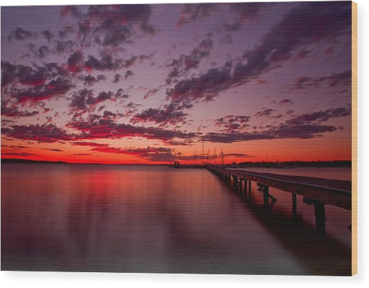 Soldiers Point Sunset Wood Print