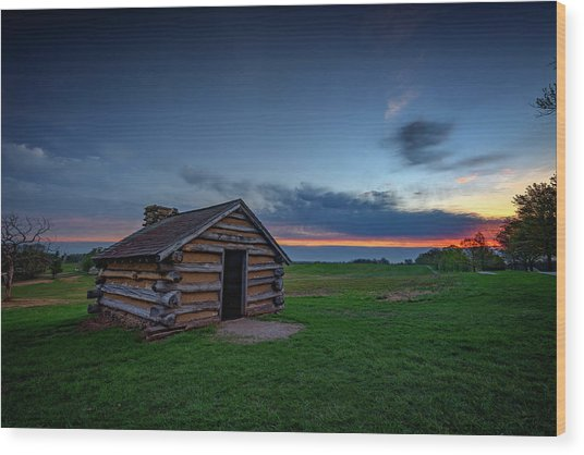 Soldier's Quarters At Valley Forge Wood Print