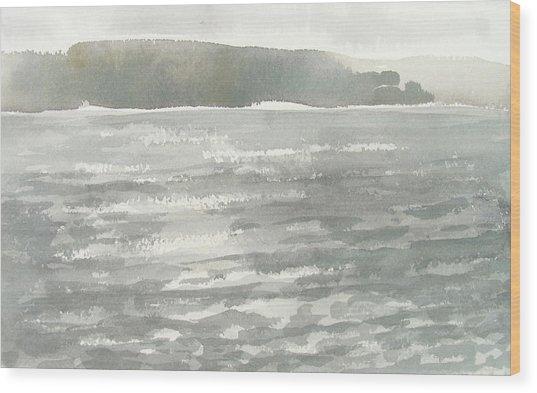 Soldis Over Glittrande Fjord - Sunlit Haze Over Glittering Water_0023 76x48cm Wood Print