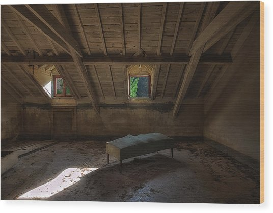 Wood Print featuring the photograph Solitary Bed Under The Roof  - Letto Solitario Sotto Il Tetto by Enrico Pelos