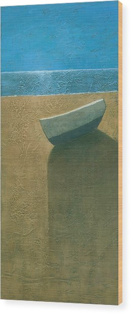 Solitary Boat Wood Print