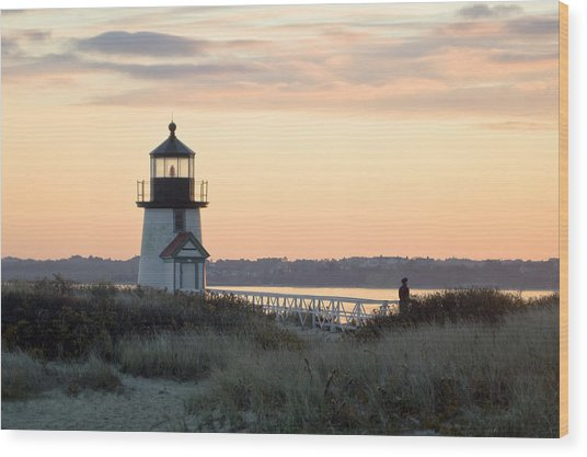 Solitude At Brant Point Light Nantucket Wood Print by Henry Krauzyk