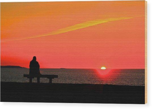 Solitude At Sunrise Wood Print