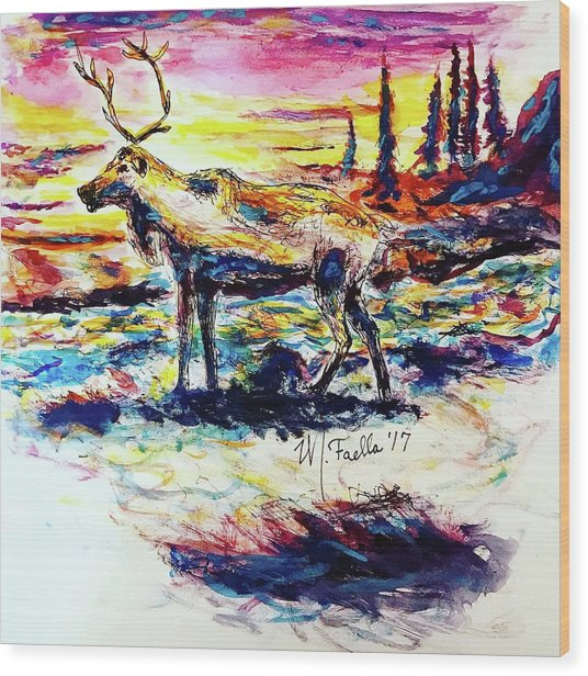 Solitude Caribou Wood Print