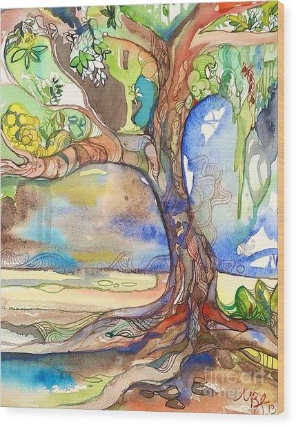 Solo Tree Wood Print by Maya Simonson