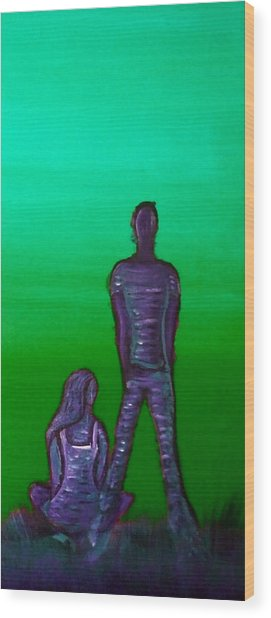 Someone To Watch Over Me-green Wood Print by Brenda Higginson