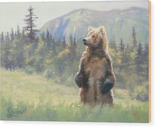 Something In The Air- Alaskan Brown Bear Wood Print by Larry Seiler