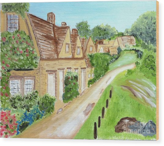 Somewhere In Cotswolds South West England Wood Print