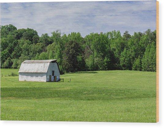 Barn In Green Pasture Wood Print