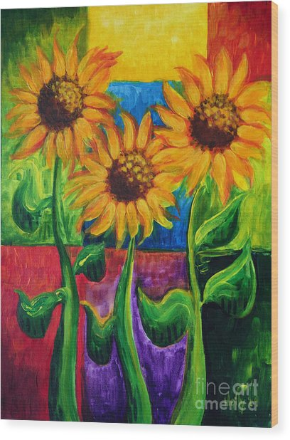 Sonflowers II Wood Print