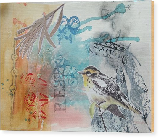 Wood Print featuring the mixed media Song Of Life  by Rose Legge