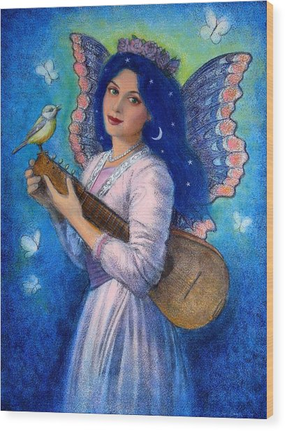 Songbird For A Blue Muse Wood Print