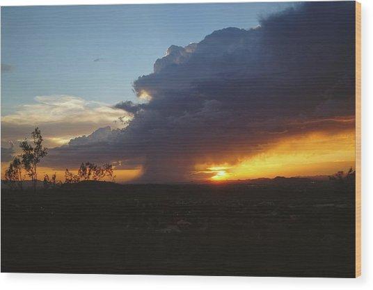 Sonoran Desert Thunderstorm Wood Print