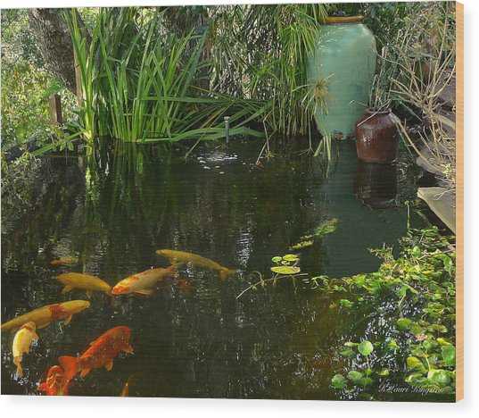 Soothing Koi Pond Wood Print