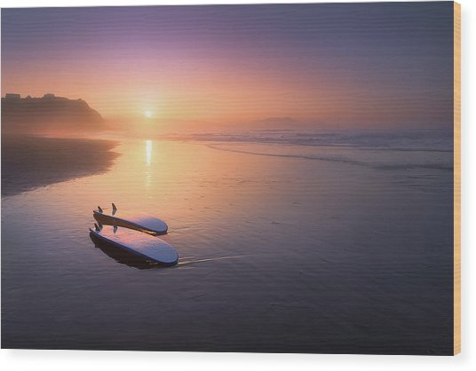 Sopelana Beach With Surfboards On The Shore Wood Print