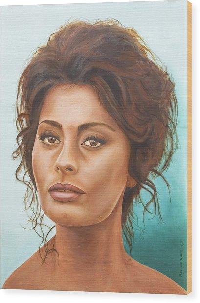Sophia Loren Wood Print