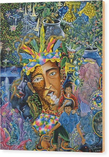 Wood Print featuring the painting Soplo De Banco Puma by Pablo Amaringo