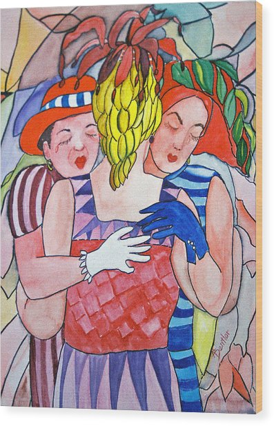Sorrowful Sisters Wood Print by AnnE Dentler