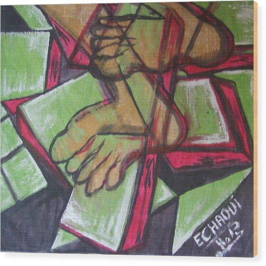 Souffrance 01 2007 Wood Print by Halima Echaoui