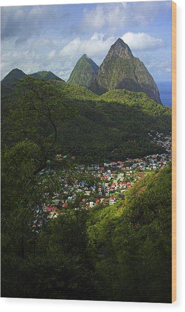 Soufriere Village- St Lucia Wood Print