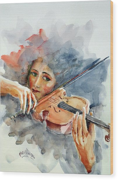 Sound Of Violin... Wood Print