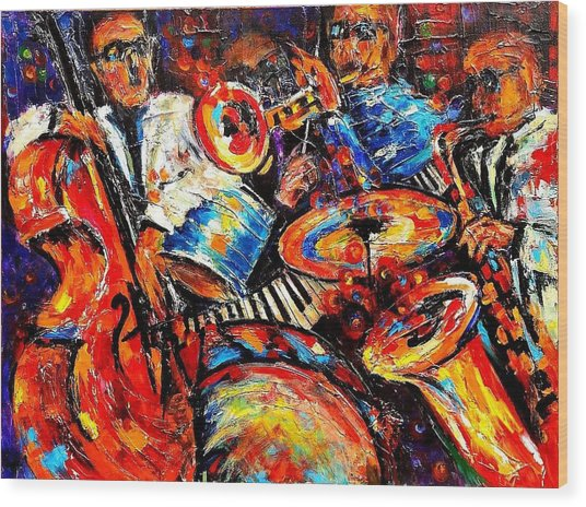 Sounds Of Jazz Wood Print