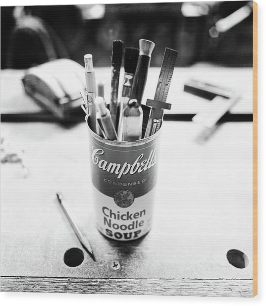 Soupcan Pencil Holder On Workbench In Bw Wood Print