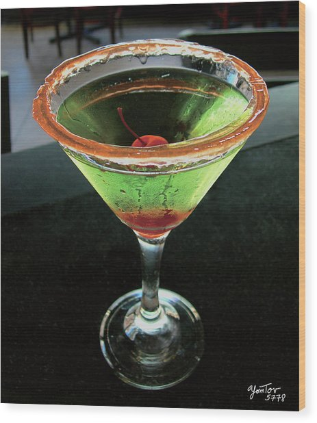 Sour Apple Martini Wood Print