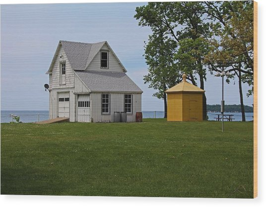 South Bass Island Lighthouse Barn And Oil Storage Building I Wood Print