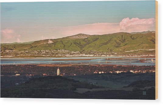 South Bay With Stanford Wood Print