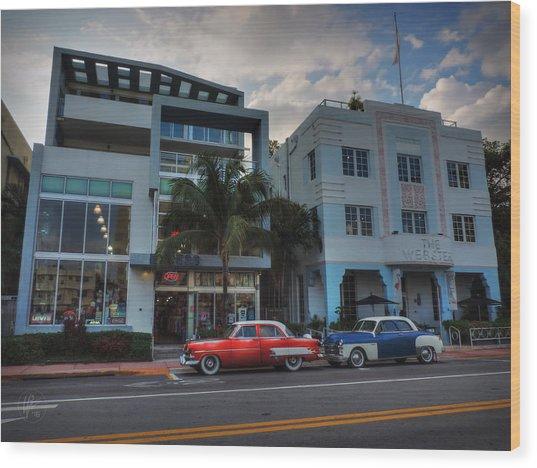 South Beach - Collins Avenue 002 Wood Print by Lance Vaughn