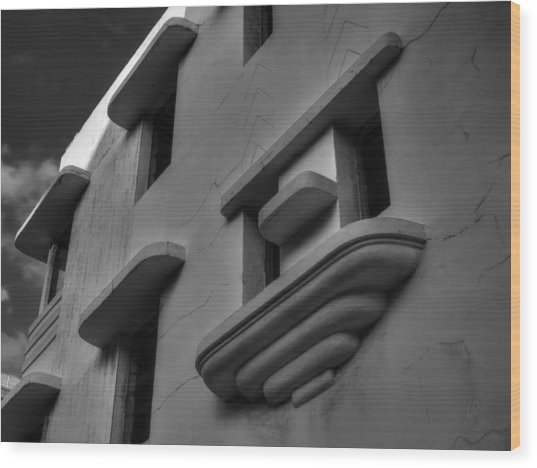 South Beach Deco Elements 001 Bw Wood Print by Lance Vaughn