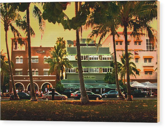 South Beach Ocean Drive Wood Print