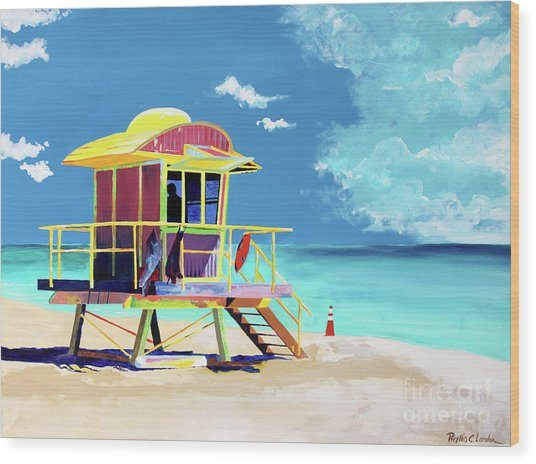 South Beach Wood Print