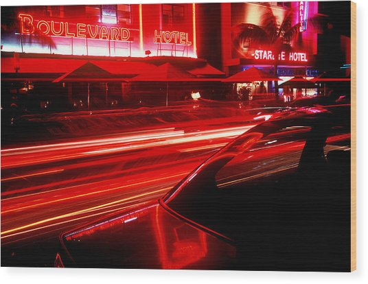 South Beach Red Wood Print by Brad Rickerby