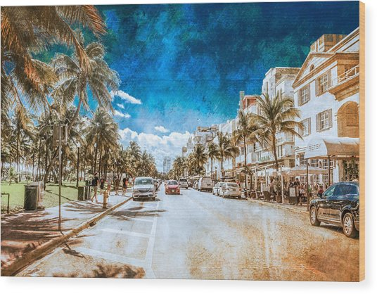 South Beach Road Wood Print