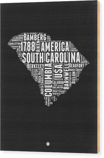 South Carolina Black And White Map Wood Print