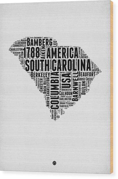 South Carolina Word Cloud 1 Wood Print