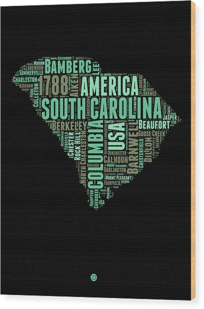 South Carolina Word Cloud 2 Wood Print