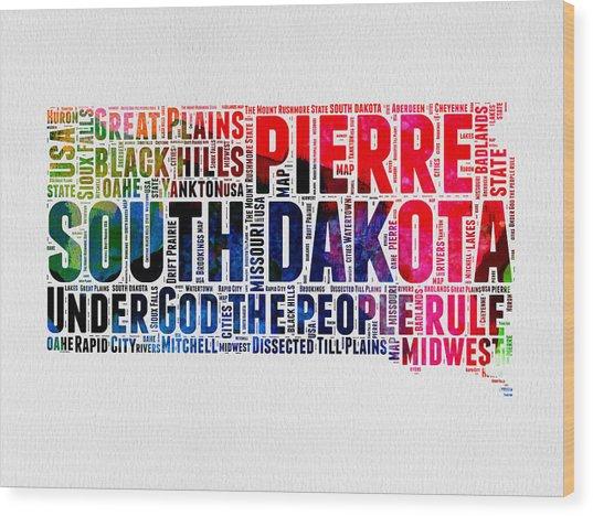South Dakota Watercolor Word Cloud Wood Print
