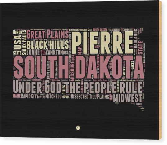 South Dakota Word Cloud 2 Wood Print