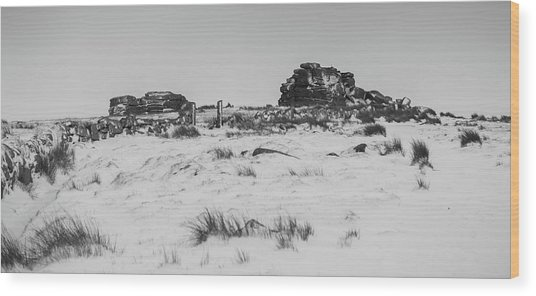 South Hessary Tor In The Snow Wood Print