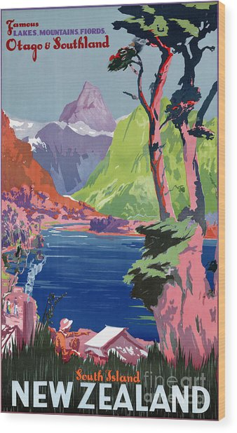 South Island New Zealand Vintage Poster Restored Wood Print