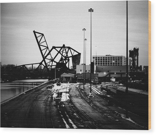 South Loop Railroad Bridge Wood Print