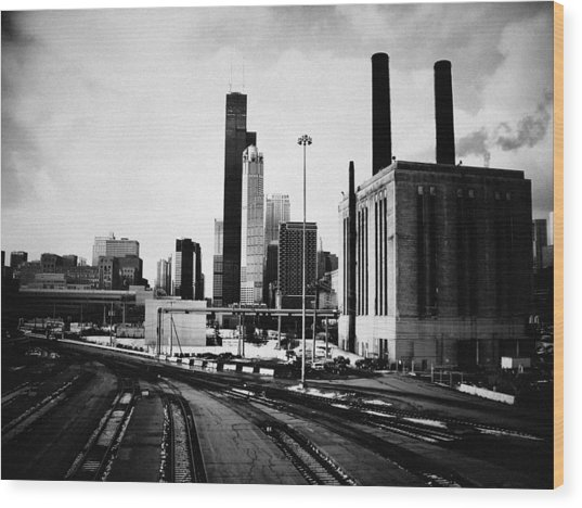 South Loop Railroad Yard Wood Print