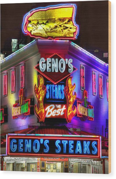 South Philly Skyline - Geno's Steaks-1 - Ninth And Passyunk In South Philadelphia Wood Print
