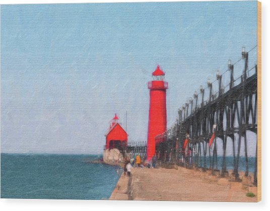 South Pier Of Grand Haven Wood Print