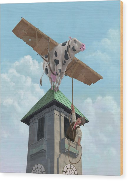 Southampton Cow Flight Wood Print