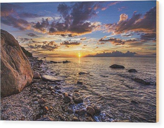 Southold Sunset Wood Print