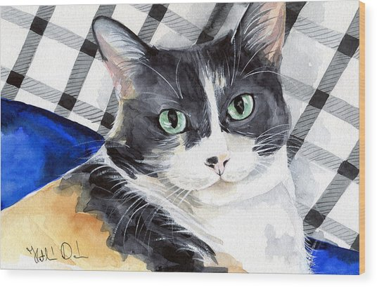 Southpaw - Calico Cat Portrait Wood Print